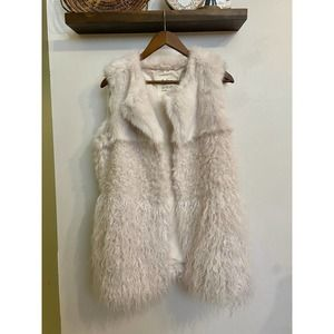 Dylan LA tiered fur fuzzy vest white | XL